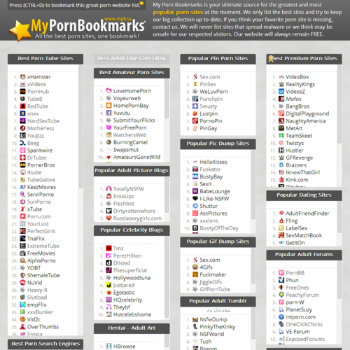 porn sites list MyPornBookmarks